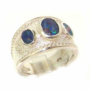 Luxury Sterling Silver Ladies Turkish Style Wide Opal Eternity Ring