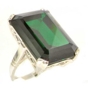 Sterling Silver Large 69ct Octagon Cut Synthetic Emerald Ring