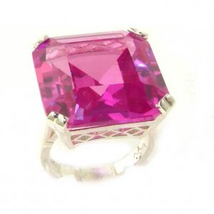 Luxury Sterling Silver Ladies Large Square Octagon Solitaire Synthetic Pink Sapphire Basket Ring