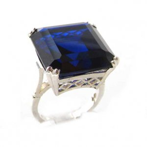 Luxury Sterling Silver Ladies Large Square Octagon Solitaire Synthetic Sapphire Basket Ring