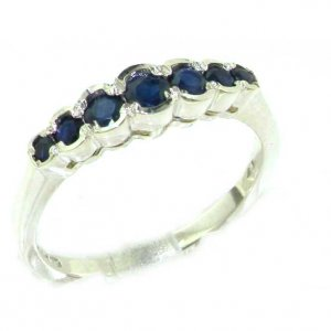 High Quality Solid 9ct White Gold Ladies Natural Deep Blue Sapphire Contemporary Style Eternity Band Ring