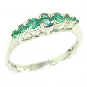 High Quality Solid 9ct White Gold Ladies Natural Emerald Contemporary Style Eternity Band Ring