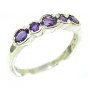 Luxury Solid English 9ct White Gold Ladies Natural Amethyst Contemporary Style Eternity Band Ring