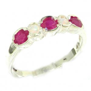 Luxury Solid English Sterling Silver Ladies Natural Ruby & Fiery Opal Contemporary Style Eternity Band Ring