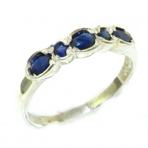 Luxury Solid English Sterling Silver Ladies Natural Deep Blue Sapphire Contemporary Style Eternity Band Ring