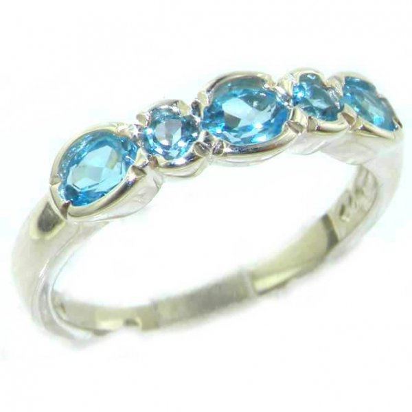 Luxury Solid English Sterling Silver Ladies Natural Blue Topaz Contemporary Style Eternity Band Ring