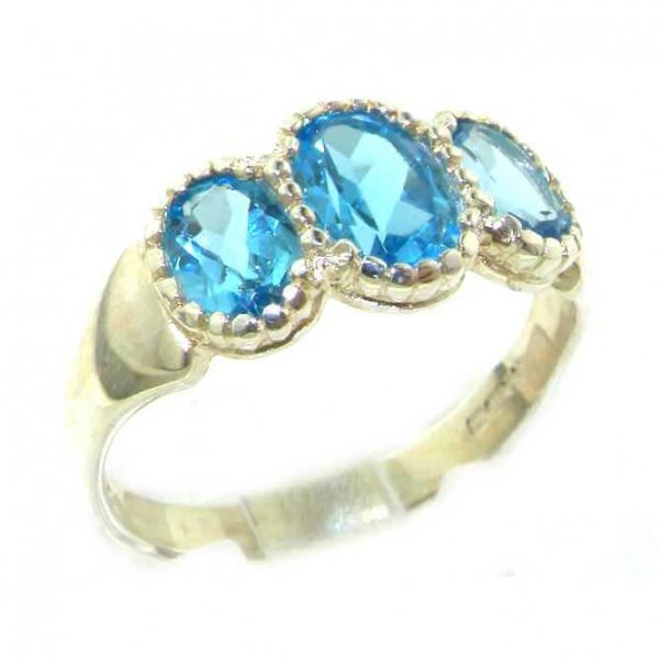 Quality Solid Sterling Silver Natural Blue Topaz Ladies Trilogy Ring