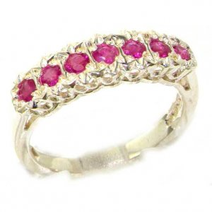 Solid English Sterling Silver Ladies Natural Ruby Victorian Style Eternity Band Ring