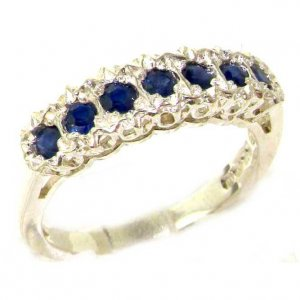Solid English Sterling Silver Ladies Natural Sapphire Victorian Style Eternity Band Ring