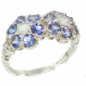 Rare Solid Sterling Silver Natural Tanzanite & Fiery Opal Double Daisy Ring