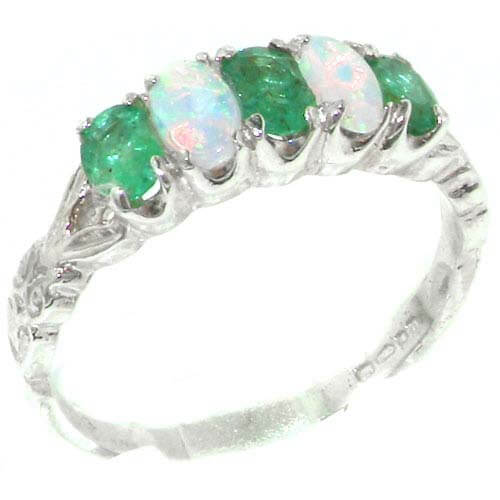 Emerald Ring Silver Vintage Style
