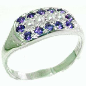 High Quality Solid Sterling Silver Vibrant Natural Amethyst and Pearl Ring