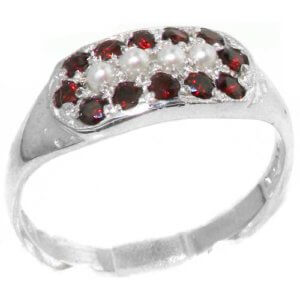 High Quality Solid Sterling Silver Vibrant Natural Garnet and Pearl Ring