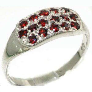 High Quality Solid Sterling Silver Vibrant Natural Garnet Ring