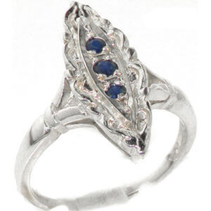 Rare Vintage Design Solid Sterling Silver Natural Sapphire Ring