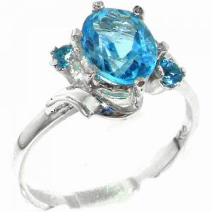 Luxury Solid Sterling Silver Large 9x7mm Natural Blue Topaz Ladies Ring