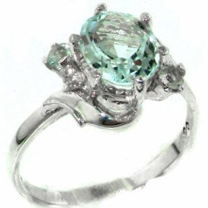 Luxury Solid Sterling Silver Large 9x7mm Natural Aquamarine Ladies Ring