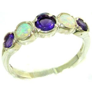 Genuine Solid Sterling Silver Natural Amethyst & Fiery Opal Womens Right Hand Ring