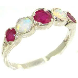 Genuine Solid Sterling Silver Natural Ruby & Fiery Opal Womens Eternity Ring