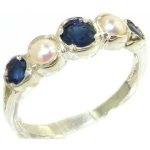 Genuine Solid Sterling Silver Natural Sapphire & Pearl Womens Ring