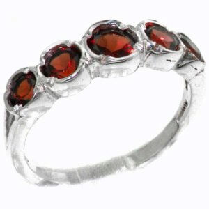 Genuine Solid Sterling Silver Natural Vibrant Garnet Womens High Quality Ring
