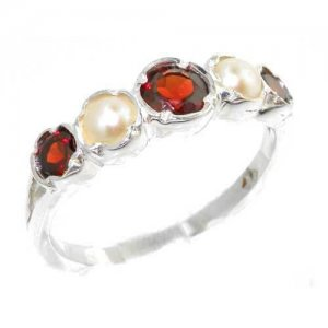 Genuine Solid Sterling Silver Natural Garnet & Pearl Womens High Quality Ring