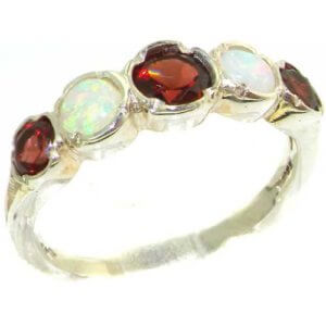 Genuine Solid Sterling Silver Natural Garnet & Fiery Opal Womens High Quality Ring