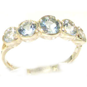 Solid English Sterling Silver Ladies Aquamarine Eternity Band Ring