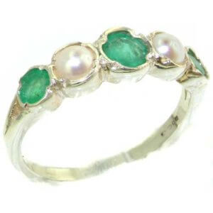 Genuine Solid Sterling Silver Natural Emerald & Pearl Womens Eternity Ring