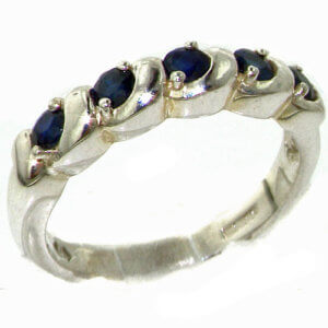 Luxury Solid Sterling Silver Deep Blue Natural Sapphire Eternity Ring