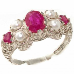 Sterling Silver Ruby & Pearl Ring