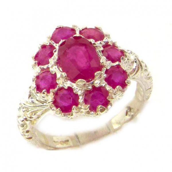 Sterling Silver Ruby Cluster Ring