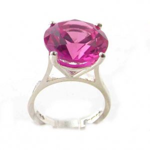 Luxury Sterling Silver Ladies Large & Tall Round Solitaire Synthetic Pink Sapphire Basket Ring