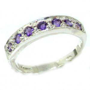 Solid English 9ct White Gold Ladies Natural Amethyst Eternity Band Ring