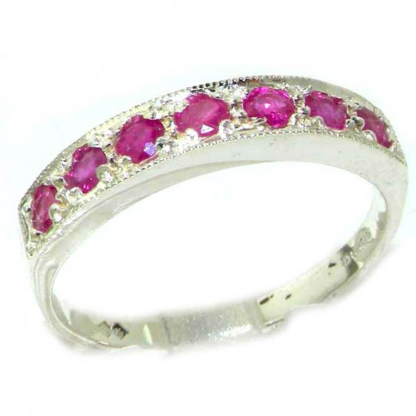 Solid K8K 14ct White Gold Ladies Natural Ruby Eternity Band Ring