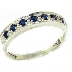 Solid English Sterling Silver Ladies Natural Sapphire Eternity Band Ring