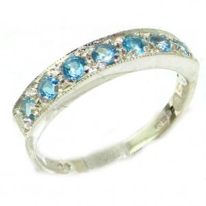 Solid English 9ct White Gold Ladies Natural Blue Topaz Eternity Band Ring