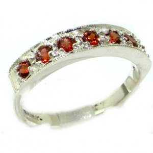 Solid English Sterling Silver Ladies Natural Garnet Eternity Band Ring