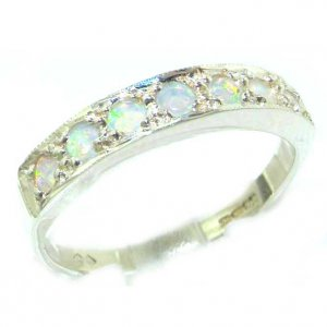 Solid English Sterling Silver Ladies Natural Fiery Opal Eternity Band Ring