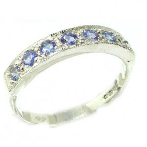 Solid English 9ct White Gold Ladies Natural Tanzanite Eternity Band Ring