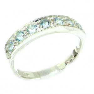 Solid English Sterling Silver Ladies Natural Aquamarine Eternity Band Ring