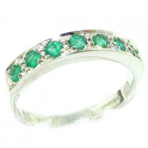 Solid K8K 14ct White Gold Ladies Natural Emerald Eternity Band Ring