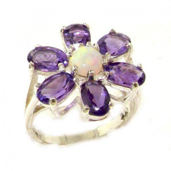 Solid English Sterling Silver Ladies Large Fiery Opal & Amethyst Flower Ring