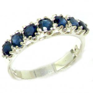 Solid English Sterling Silver Ladies Sapphire Vintage Style Eternity Band Ring