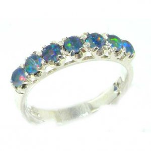 Solid English Sterling Silver Ladies Colorful Opal Vintage Style Eternity Band Ring