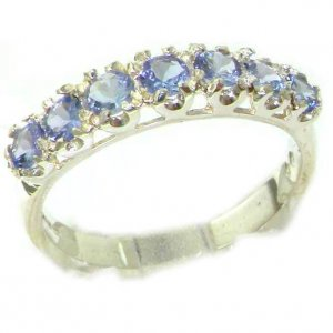 Solid English Sterling Silver Ladies Tanzanite Vintage Style Eternity Band Ring