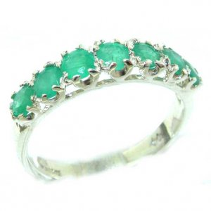 Solid English Sterling Silver Ladies Emerald Vintage Style Eternity Band Ring