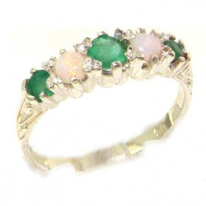 Antique Style Solid Sterling Silver Natural Emerald & Opal Ring with English Hallmarks