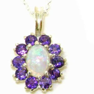 Luxury Ladies Solid White 9ct Gold Ornate Vibrant Natural Opal & Amethyst Marquise Pendant Necklace