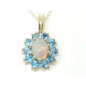 Luxury Ladies Solid 925 Sterling Silver Ornate Vibrant Natural Opal & Blue Topaz Marquise Pendant Necklace